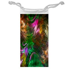 Fractal Texture Abstract Messy Light Color Swirl Bright Jewelry Bag by Simbadda