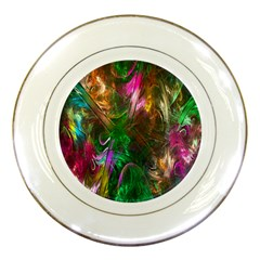 Fractal Texture Abstract Messy Light Color Swirl Bright Porcelain Plates by Simbadda