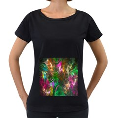 Fractal Texture Abstract Messy Light Color Swirl Bright Women s Loose Fit T Shirt (black)