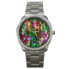 Fractal Texture Abstract Messy Light Color Swirl Bright Sport Metal Watch by Simbadda