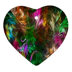 Fractal Texture Abstract Messy Light Color Swirl Bright Heart Ornament (two Sides) by Simbadda