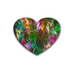 Fractal Texture Abstract Messy Light Color Swirl Bright Rubber Coaster (heart)  by Simbadda
