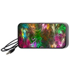 Fractal Texture Abstract Messy Light Color Swirl Bright Portable Speaker (black) by Simbadda