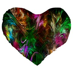 Fractal Texture Abstract Messy Light Color Swirl Bright Large 19  Premium Heart Shape Cushions by Simbadda
