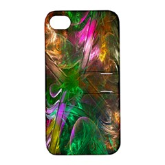 Fractal Texture Abstract Messy Light Color Swirl Bright Apple Iphone 4/4s Hardshell Case With Stand