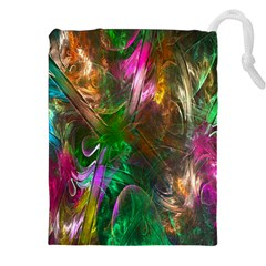 Fractal Texture Abstract Messy Light Color Swirl Bright Drawstring Pouches (xxl) by Simbadda