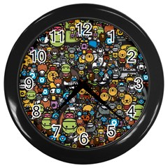 Many Funny Animals Wall Clocks (black) by Simbadda
