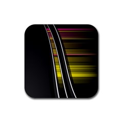 Abstract Multicolor Vectors Flow Lines Graphics Rubber Square Coaster (4 Pack)  by Onesevenart