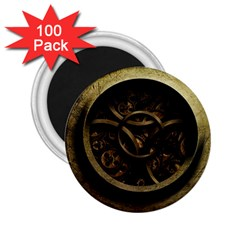 Abstract Steampunk Textures Golden 2 25  Magnets (100 Pack)