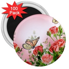 Flora Butterfly Roses 3  Magnets (100 Pack) by Onesevenart
