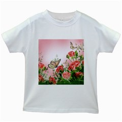 Flora Butterfly Roses Kids White T Shirts by Onesevenart