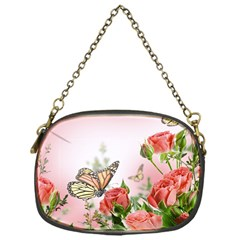 Flora Butterfly Roses Chain Purses (one Side)  by Onesevenart