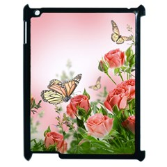 Flora Butterfly Roses Apple Ipad 2 Case (black) by Onesevenart