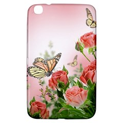 Flora Butterfly Roses Samsung Galaxy Tab 3 (8 ) T3100 Hardshell Case  by Onesevenart