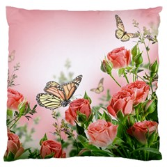 Flora Butterfly Roses Large Flano Cushion Case (two Sides) by Onesevenart