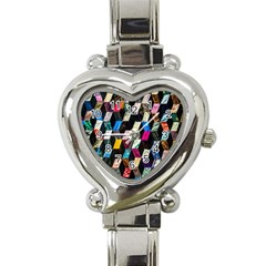 Abstract Multicolor Cubes 3d Quilt Fabric Heart Italian Charm Watch by Onesevenart