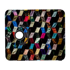 Abstract Multicolor Cubes 3d Quilt Fabric Galaxy S3 (flip/folio) by Onesevenart