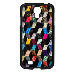 Abstract Multicolor Cubes 3d Quilt Fabric Samsung Galaxy S4 I9500/ I9505 Case (black) by Onesevenart
