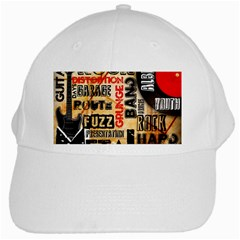 Guitar Typography White Cap by Onesevenart