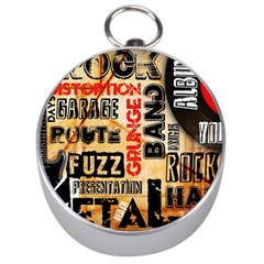 Guitar Typography Silver Compasses