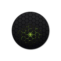 Green Android Honeycomb Gree Rubber Coaster (round)  by Onesevenart