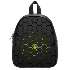 Green Android Honeycomb Gree School Bags (small)  by Onesevenart