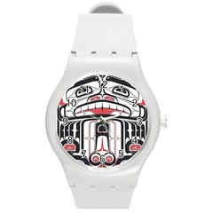Ethnic Traditional Art Round Plastic Sport Watch (m) by Onesevenart