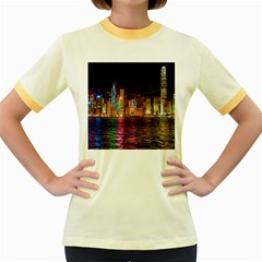 Light Water Cityscapes Night Multicolor Hong Kong Nightlights Women s Fitted Ringer T Shirts by Onesevenart