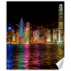 Light Water Cityscapes Night Multicolor Hong Kong Nightlights Canvas 20  X 24   by Onesevenart