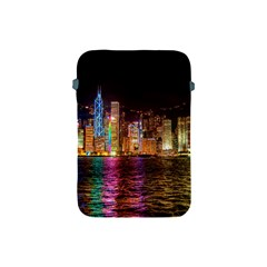 Light Water Cityscapes Night Multicolor Hong Kong Nightlights Apple Ipad Mini Protective Soft Cases by Onesevenart