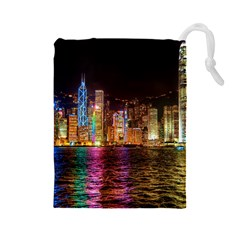 Light Water Cityscapes Night Multicolor Hong Kong Nightlights Drawstring Pouches (large)  by Onesevenart