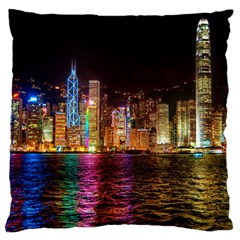 Light Water Cityscapes Night Multicolor Hong Kong Nightlights Large Flano Cushion Case (two Sides)