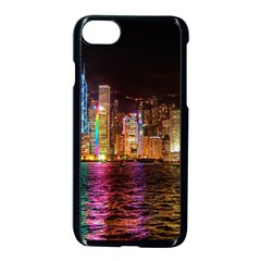 Light Water Cityscapes Night Multicolor Hong Kong Nightlights Apple Iphone 7 Seamless Case (black) by Onesevenart