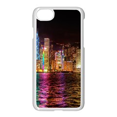 Light Water Cityscapes Night Multicolor Hong Kong Nightlights Apple Iphone 7 Seamless Case (white) by Onesevenart
