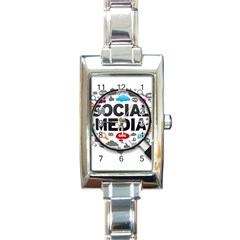 Social Media Computer Internet Typography Text Poster Rectangle Italian Charm Watch by Onesevenart