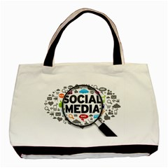 Social Media Computer Internet Typography Text Poster Basic Tote Bag by Onesevenart