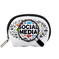 Social Media Computer Internet Typography Text Poster Accessory Pouches (small)  by Onesevenart