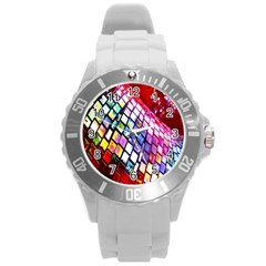 Multicolor Wall Mosaic Round Plastic Sport Watch (l) by Onesevenart