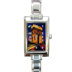 Paris Cityscapes Lights Multicolor France Rectangle Italian Charm Watch by Onesevenart