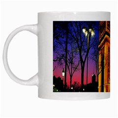 Paris Cityscapes Lights Multicolor France White Mugs by Onesevenart