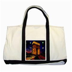 Paris Cityscapes Lights Multicolor France Two Tone Tote Bag by Onesevenart