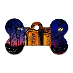 Paris Cityscapes Lights Multicolor France Dog Tag Bone (two Sides) by Onesevenart