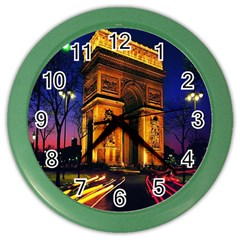 Paris Cityscapes Lights Multicolor France Color Wall Clocks by Onesevenart