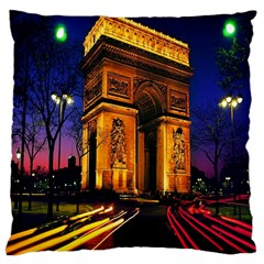 Paris Cityscapes Lights Multicolor France Large Cushion Case (two Sides) by Onesevenart