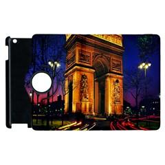 Paris Cityscapes Lights Multicolor France Apple Ipad 2 Flip 360 Case by Onesevenart