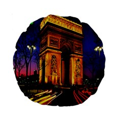 Paris Cityscapes Lights Multicolor France Standard 15  Premium Round Cushions by Onesevenart