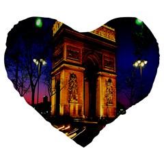 Paris Cityscapes Lights Multicolor France Large 19  Premium Heart Shape Cushions by Onesevenart