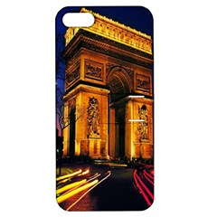 Paris Cityscapes Lights Multicolor France Apple Iphone 5 Hardshell Case With Stand by Onesevenart
