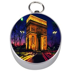Paris Cityscapes Lights Multicolor France Silver Compasses by Onesevenart