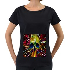 Skulls Multicolor Fractalius Colors Colorful Women s Loose-Fit T-Shirt (Black) by Onesevenart